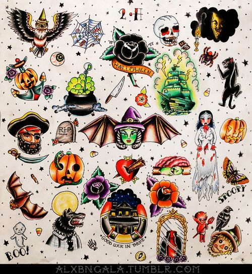 """Halloween tattoo flash 2"" by:Alejandra L Manriquez."