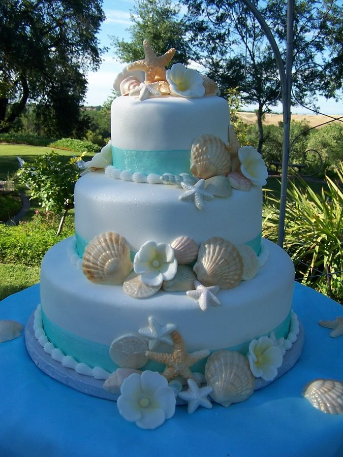 Beach Theme Wedding Cake — Seashells /Ocean/Beach