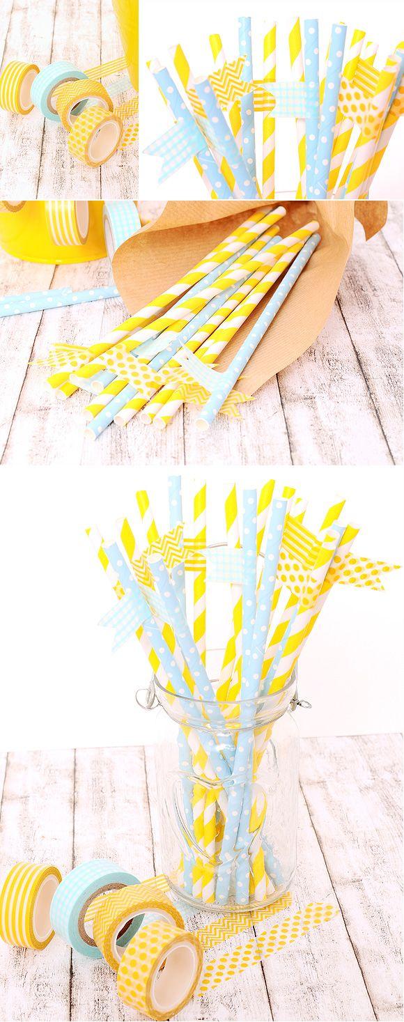 Pajitas de papel de colores – 10 ideas geniales para decorar y sorprender en tu fiesta! #DIY #bodas shop.beautifulbluebrides.com