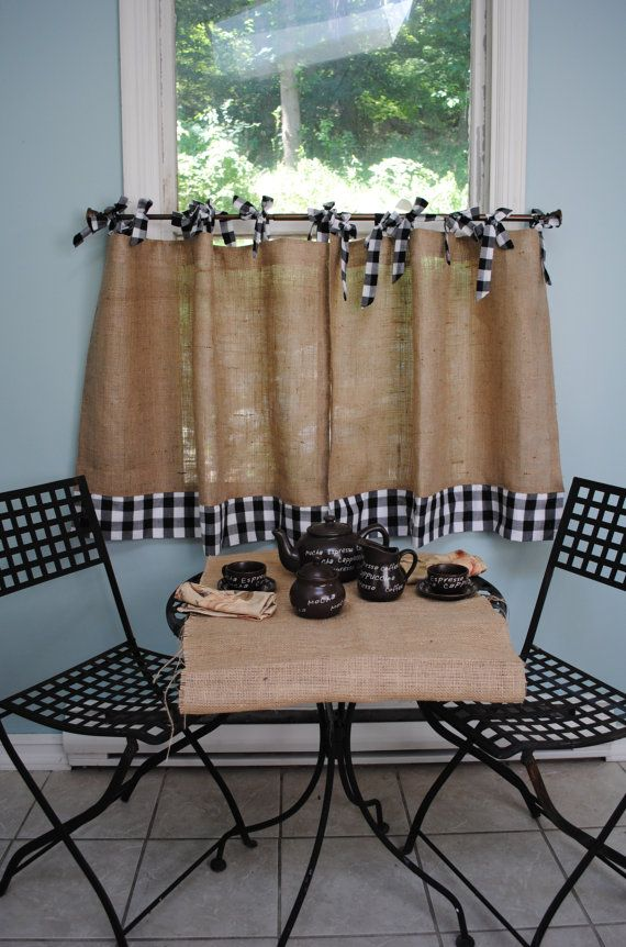 Burlap and Gingham Cafe Curtains by PaulaAndErika on Etsy           Would like to replicate something like this for the kitchen window.  Would use straps instead of bowties at top though.