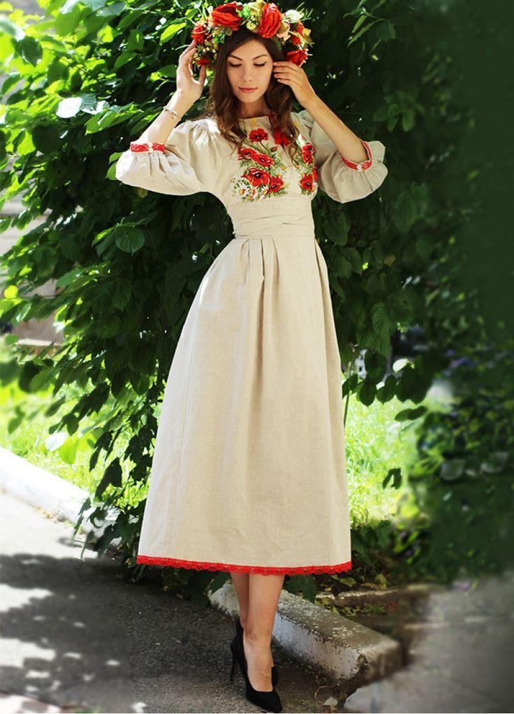 """Платье из натурального льна с вышивкой """"Маковое поле"""" ПЛ-770328"""