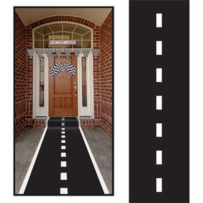 Race Party Decorations | Nascar Party Supplies | Race Car Theme Decorations |-black table runner and white tape