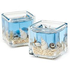 Square blue beach gel candle by ThrowSomeDiamonds on Etsy, $1.50