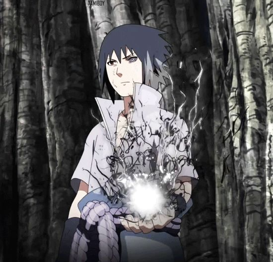 Sasuke and his Chidori with Rikudou Sennin's Chakra