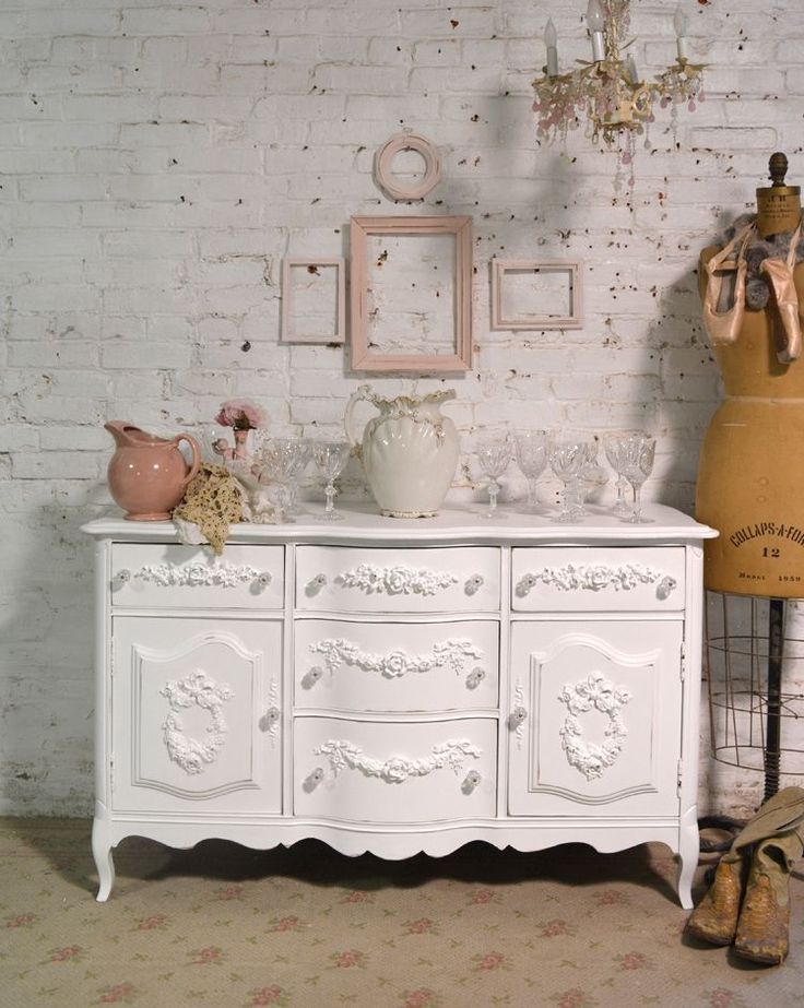 Painted Cottage Chic Shabby French Server/ Buffet / Sideboard