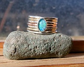 Opal Triplet Gold and Silver Stack Ring