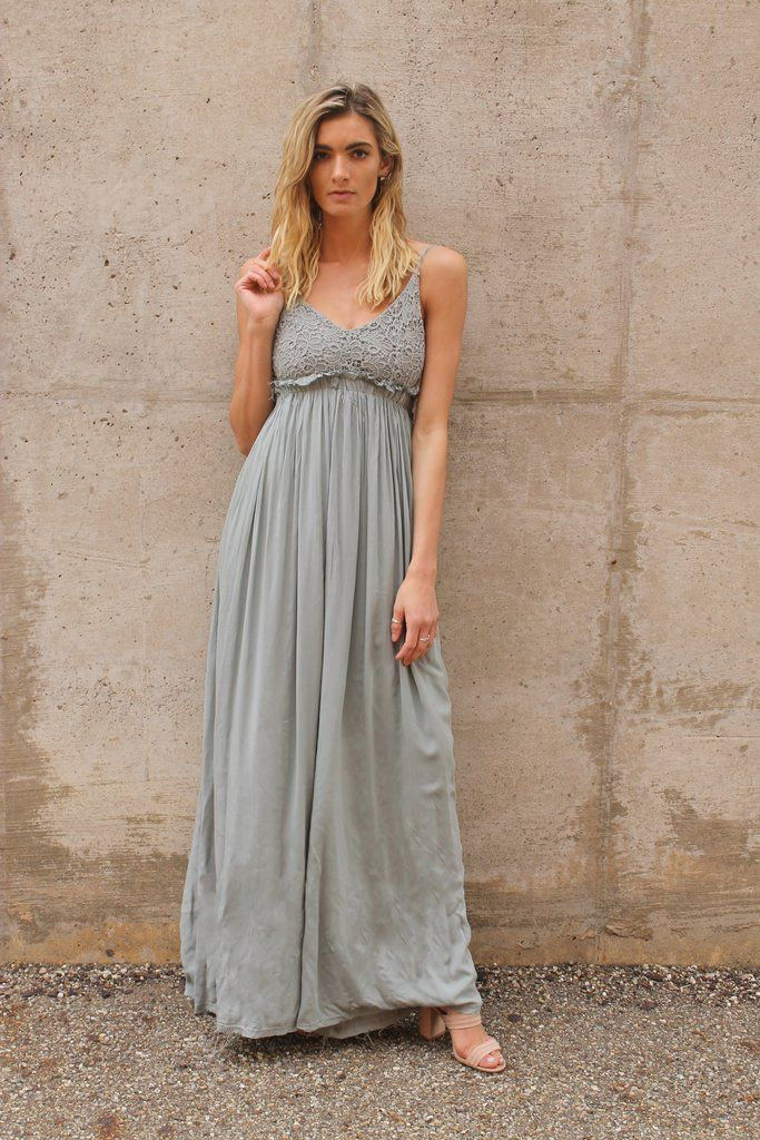 e14e19e2db Beautiful sage dress with crochet detail. PERFECT for that spring or summer  wedding #spring
