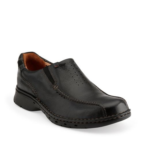 Un.Seal Black Leather - Mens Loafers and Slip On Shoes - Clarks