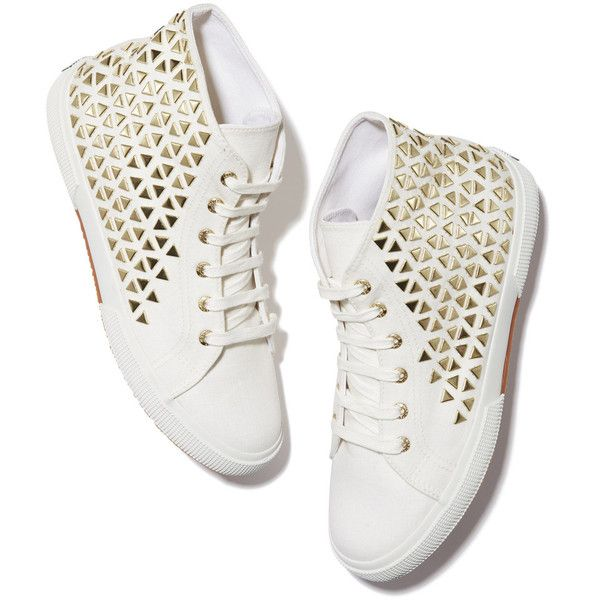 Superga xo Jennifer Meyer Studded Sneaker Goop ❤ liked on Polyvore featuring shoes, sneakers, high top shoes, gold shoes, studded sneakers, studded high top sneakers and gold high-top sneakers