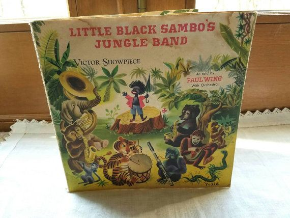 FREE SHIPPING Vintage Black Americana Cover Art Only, Little Black Sambo's Jungle Band Book 1939, African Kid's Vinyl Record RCA Victor