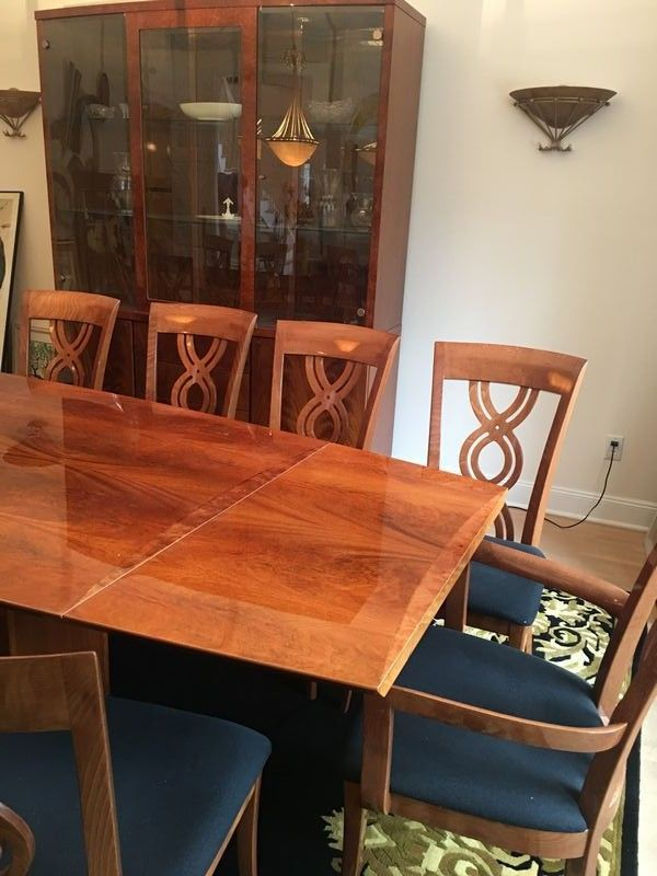 Excelsior Italian Dining Table With 8 Chairs China Cabinet And Buffet