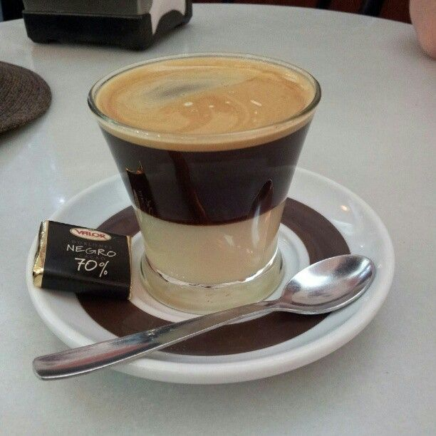 My favourite coffee. Café bombon, a shot of coffee layered on condensed milk. Delicious!