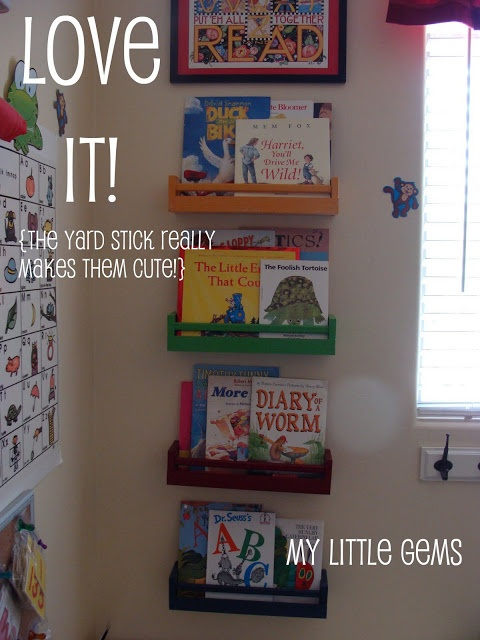 Ikea spice rack bookholders (yardstick added to the front)