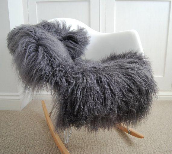 Grey Sheepskin soft Gray Curly Tibetan Luxury long haired Sheepskin Rug by Swedishdalahorse #TrendingEtsy
