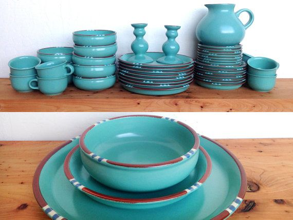 Dansk Mesa in Turquoise with five piece service for eight- plus two candlesticks and a pitcher. Highly collectable and sought after color in this pattern as