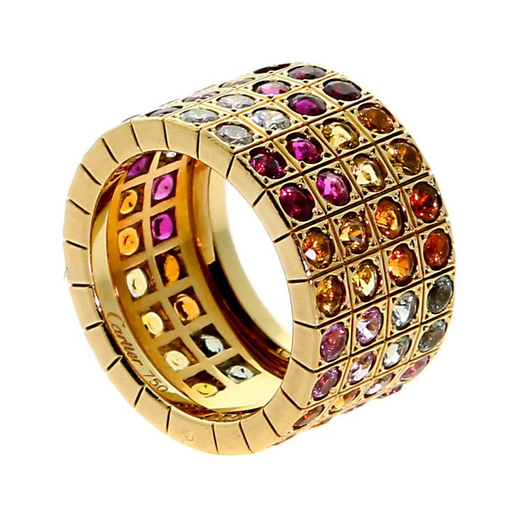 Cartier Lanieres Multicolor Sapphire Diamond Yellow Gold Ring | From a unique collection of vintage band rings at http://www.1stdibs.com/jewelry/rings/band-rings/