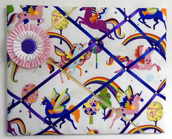 French memory board/ padded pin board flying unicorn fabric featuring horse show ribbon. Made by English Rein. Shop at https://www.etsy.com/listing/563472299/dancing-unicorn-french-memory-board