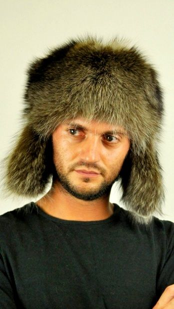 Raccoon fur hat, Ushanka. For those men wishing to be trendy and flaunt their own style even in cold winter. Unisex fur hat, ideal for women and men. Fur on both sides of ear flaps.  www.amifur.com