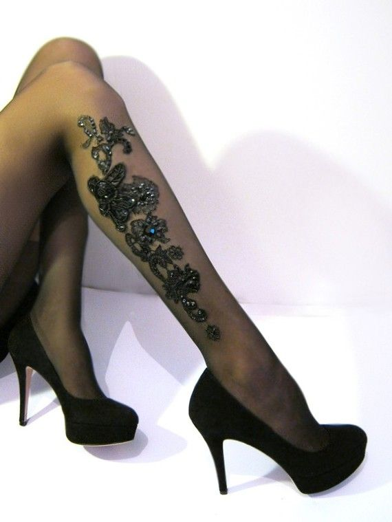 Sexy floral lace and Rhinestones TATTOO Tights by Lalilouche, $52.00