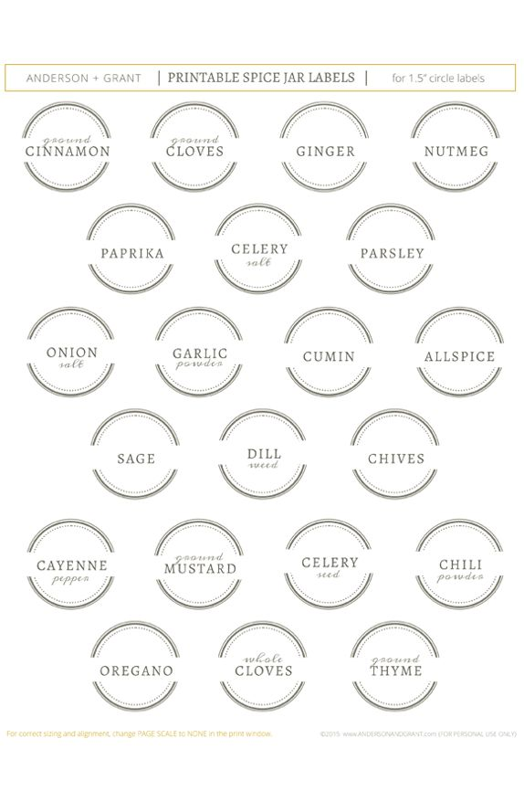 29 best Spice Jar Labels and Templates images on Pinterest - labels template free