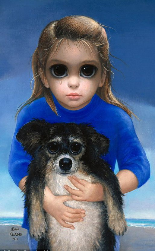 Big Eyes Girl with Dog by Margaret Keane