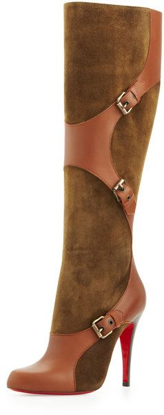 Christian Louboutin ~ Canassone Suede Leather Harness Boot Olive