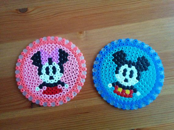 Disney coasters, Mickey & Minnie Mouse. Handmade. Hama beads