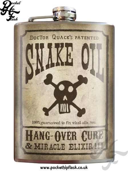 Art inspired stainless steel snake oil hip flask @ The Pocket Hip Flask Company: