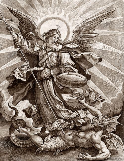 Hieronymus Wierix woodcut St Michael