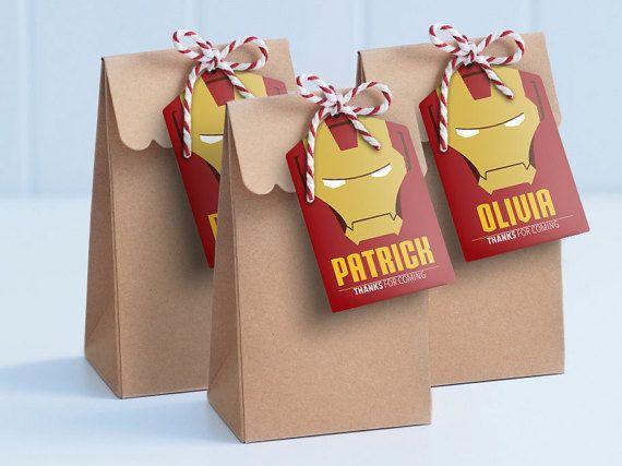 Iron Man Printable Lollie Bag Tags Edit & Print by MontyandMeShop