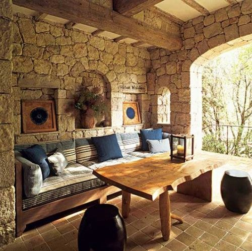neat!: Stones Porches, Outdoor Rooms, Outdoor Living, Stones Wall, Indoor Outdoor, Living Room, Patio, Back Porches, Outdoor Spaces