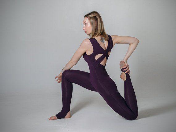 31577d0d7a755 Violet yoga unitard. Woman yoga suit. Bodysuit. Catsuit. Jumpsuit.  Activewear. Fitness suit. Y