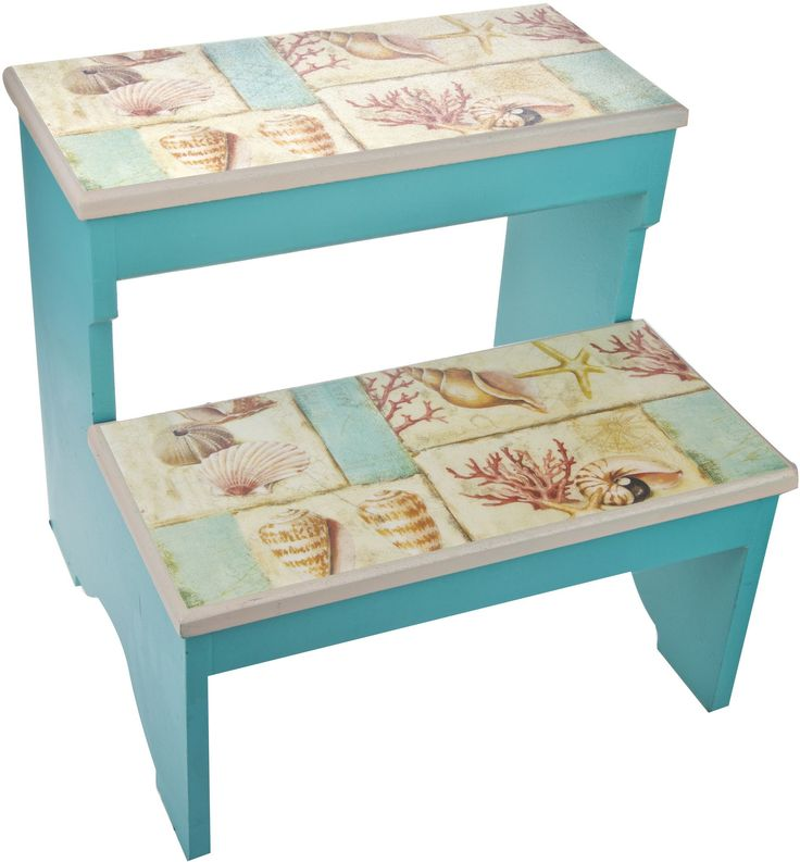 Nautical Sea Shells 2 Step Decorative Wood Step Stool  sc 1 st  Pinterest & 676 best sillas images on Pinterest | Chairs Step stools and ... islam-shia.org