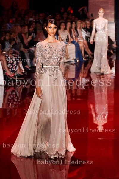 Cheap New A-line Sheer Lace Evening Dresses Backless Bateau Chiffon Floor Length Prom Dresses with long Sleeves 2014 direct from China $280