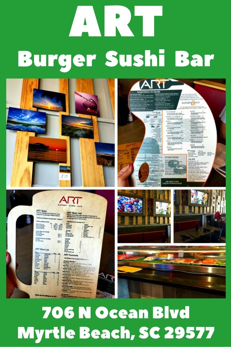 Art.Burger.Sushi.Bar is a restaurant in Myrtle Beach, SC where the food is just as lovely to look at as to indulge in.