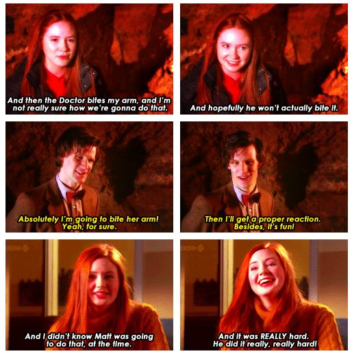 Matt Smith and Karen Gillan - of course this is how it would work out. The doctor must be me! I bite all the time! Biting is cool