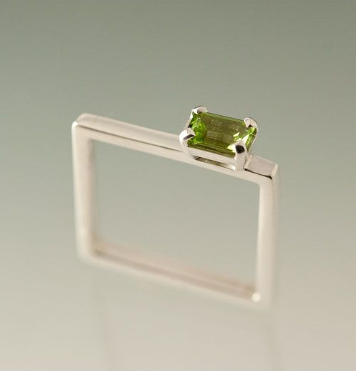 Colored Gemstone on Sterling Silver Square Ring , Peridot Emerald Cut Gemstone…