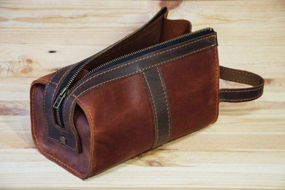 Personalizado cuero bolso cosmético Mens viajes caso