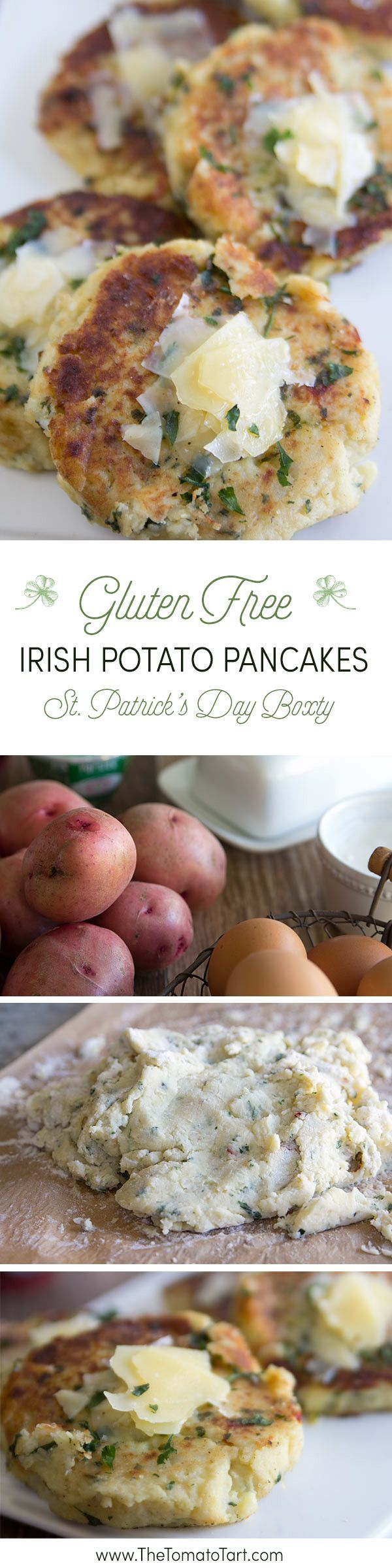 Gluten Free Irish Potato Pancakes, AKA Boxty. Serve at your St. Patrick's Day Party. from http://www.thetomatotart.com