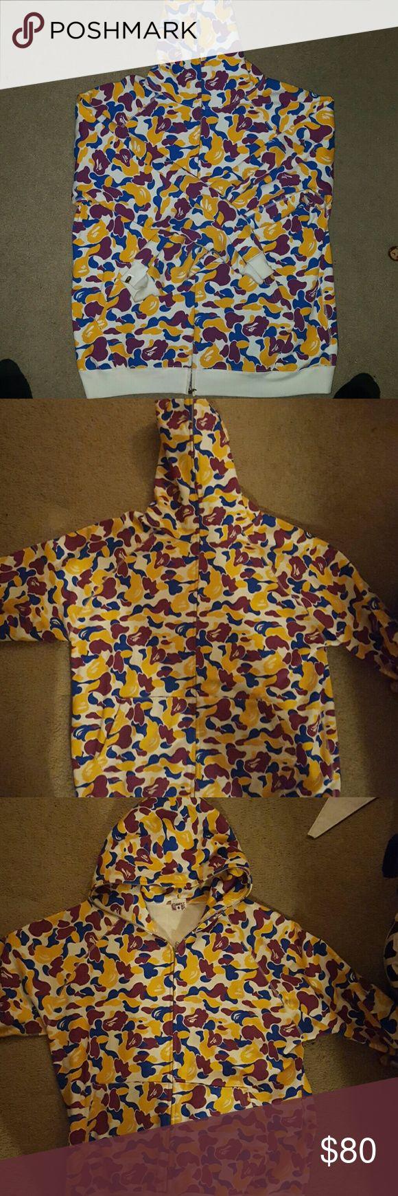 Bathing ape Zip up hoodie White yellow purple blue gorilla bape prints, zipper zips all the way up Bathing Ape Jackets & Coats