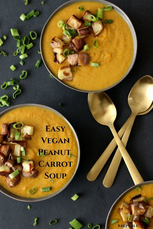Easy vegan peanut soup made with delicious creamy peanut butter and seasoned with garam masala.
