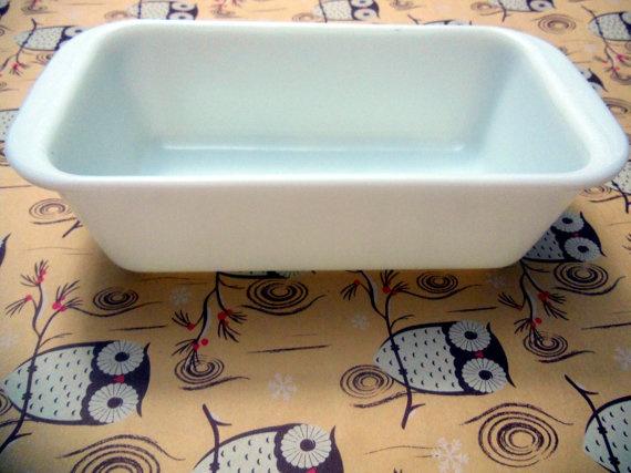 Vintage Milk White Pyrex Loaf Pan MidCentury by YarnAndPlum, $12.00