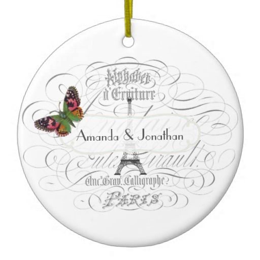 Vintage Paris Themed Wedding Customizable Double-Sided Ceramic Round Christmas Ornament