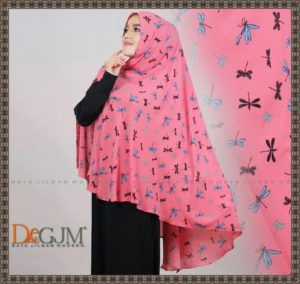 Jilbab Khimar Simple Motif Cantik Terbaru Capung deGJM Hijab | Kerudung Modern