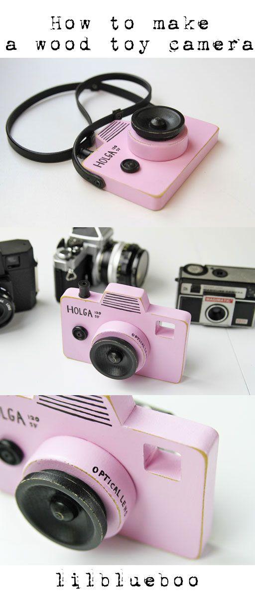 Make a DIY Wood Toy Camera | Ashley Hackshaw / Lil Blue Boo