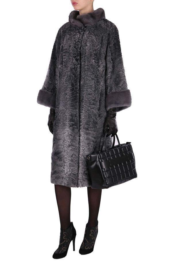 Grey Dyed Swakara Lamb Fur Coat with Grey David Mink Fur Collar and Cuffs