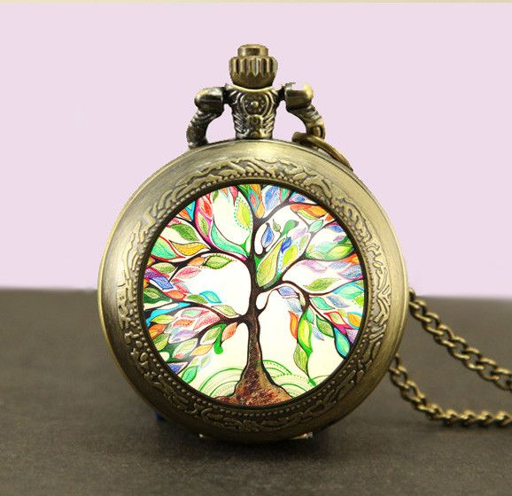 iHomeGifts - Tree of life Locket necklace,Tree of life Pocket Watch Necklace,Tree of life fob watch locket necklace