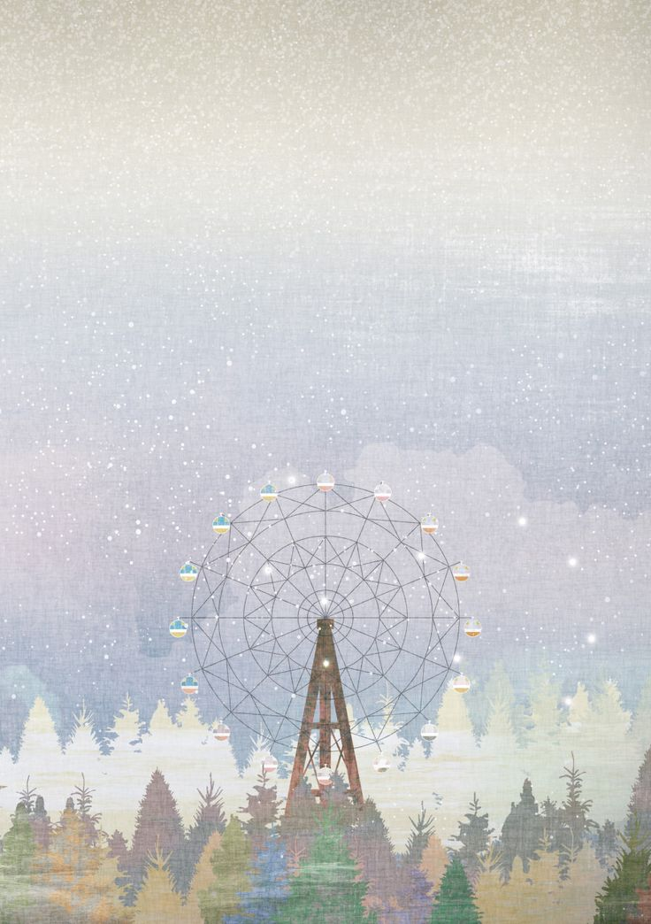The Ferris wheel, illustration, artwork