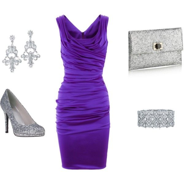 Purple sparkle by saraelizabeth 1 on polyvore evening for Purple dresses for wedding guests