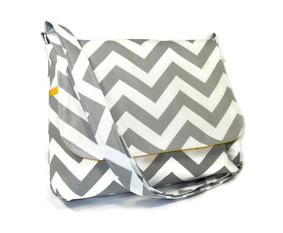 Gray Chevron Handbag Women's Messenger Bag by JHFabricCreations, $50.00